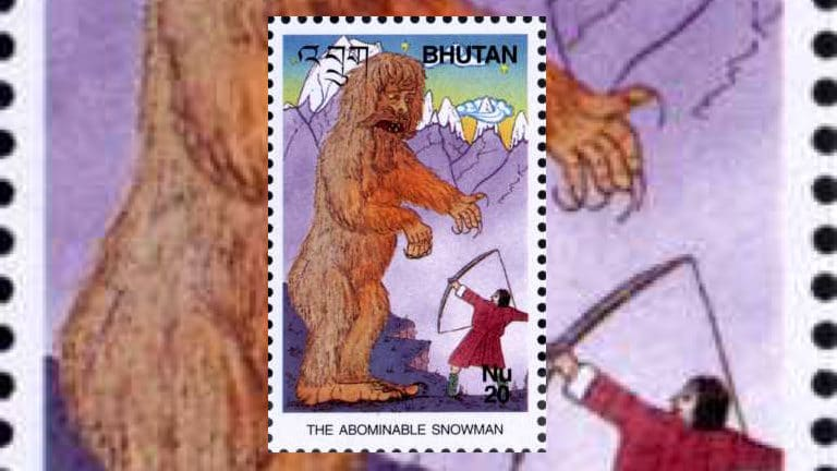 A Bhutanese stamp showing a man shooting an arrow at a Yeti