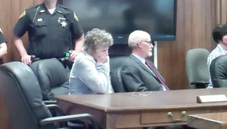 Doretta Scheffield in court sobbing