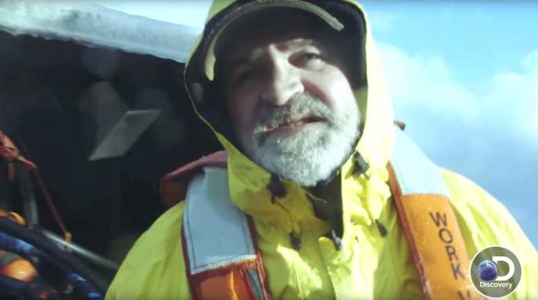 Gary Soper talking to the camera on Deadliest Catch