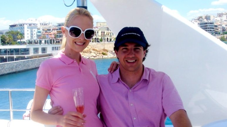 Kamercon Westcott in a candid shot with husband Court, both in pink