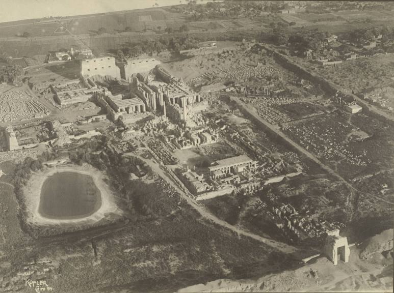 The temple complex at Karnak in 1914 in black and white aerial shot