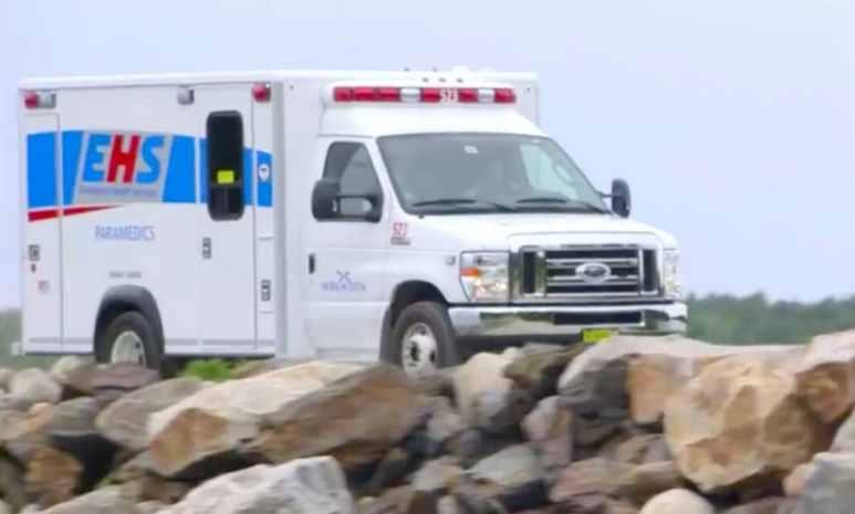 The ambulance on the Oak Island causeway