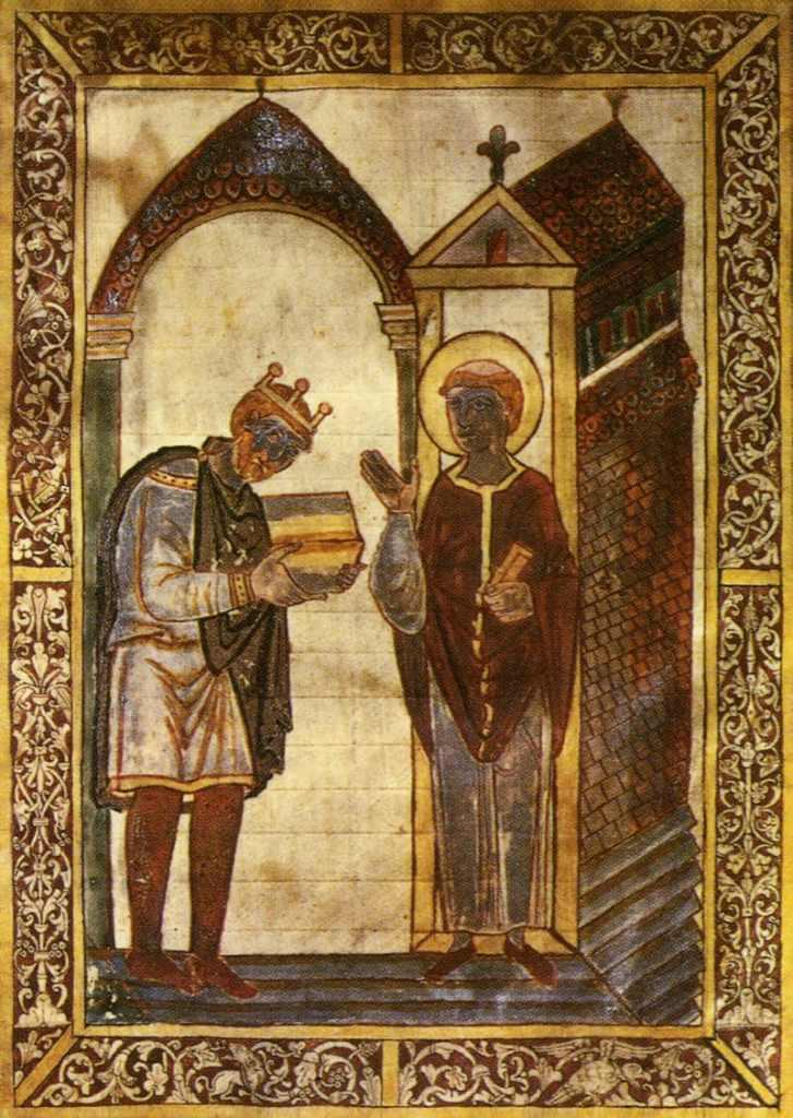 King King Æthelstan presenting an illuminated manuscript to St Cuthbert presenting an illuminated manuscript to St Cuthbert