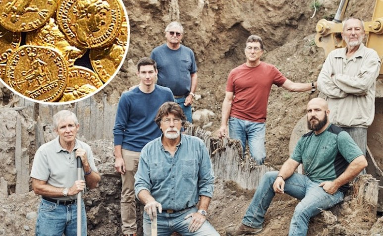 The team on The Curse of Oak Island Season 5 and inset of gold coins