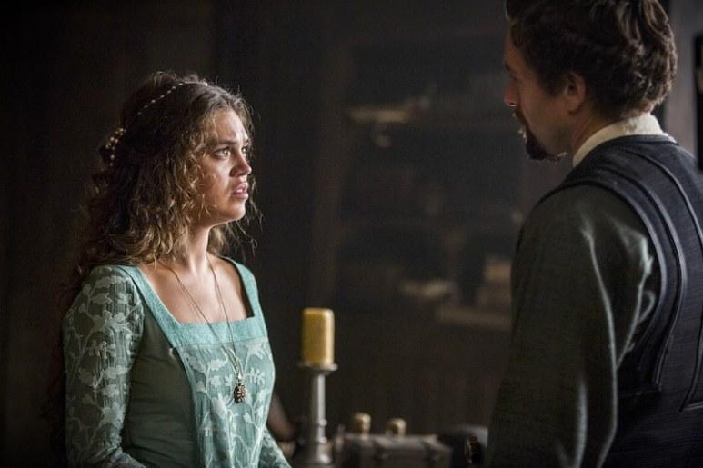 Princess Isabella (Sabrina Bartlett) and William De Nogaret (Julian Ovenden) from HISTORY's New Drama Series Knightfall.