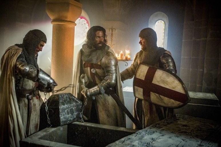 L to R: Templar Knight Tancrede (Simon Merrells), Templar Knight Landry (Tom Cullen) and Templar Knight Gawain (Pádraic Delaney) from HISTORY's New Drama Series Knightfall.