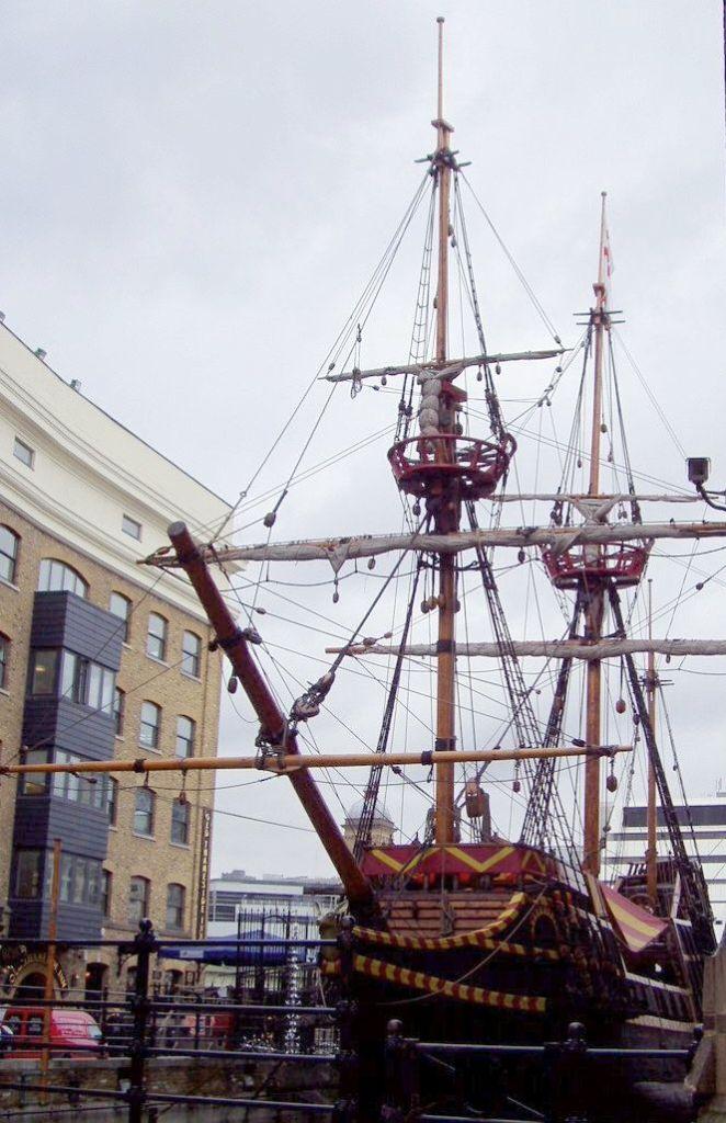 A replica of his ship the Golden Hind