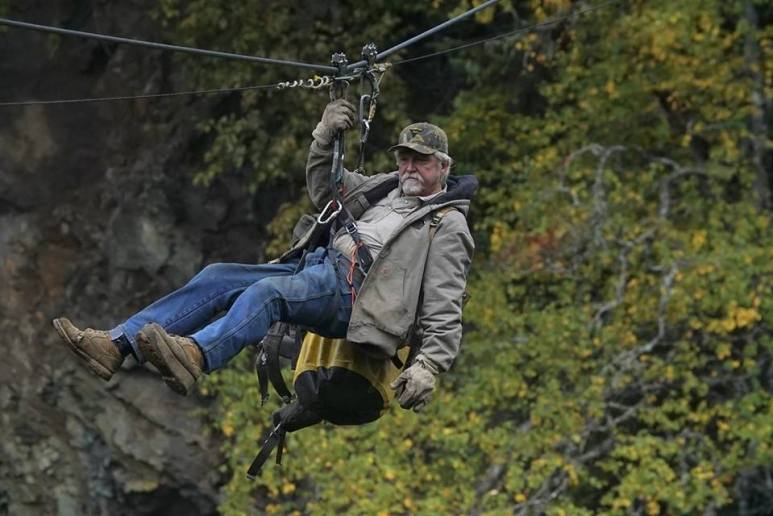 Dakota Fred on a zip-wire