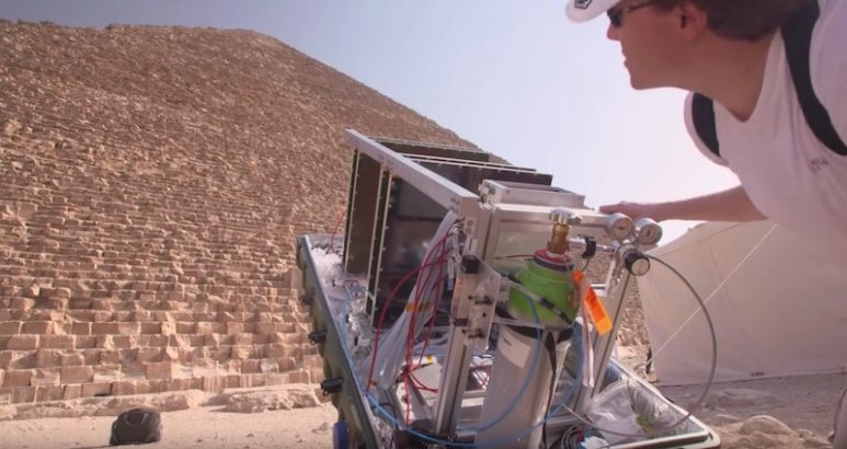 Scanning equipment outside Great Pyramid of Giza