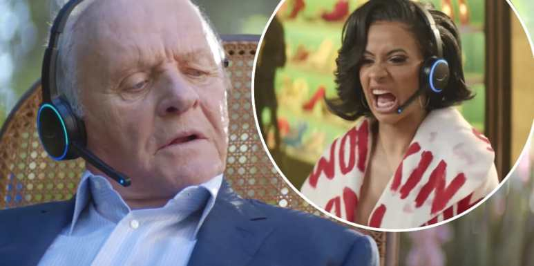 Anthony Hopkins and Cardi B in the 2018 Super Bowl commercial for Amazon's Alexa