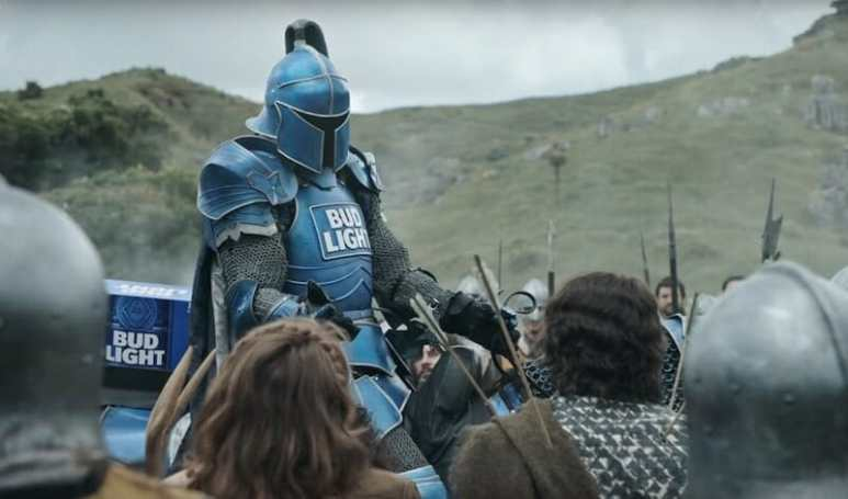 The Bud Knight in he 2018 Bud Light Super Bowl commercial