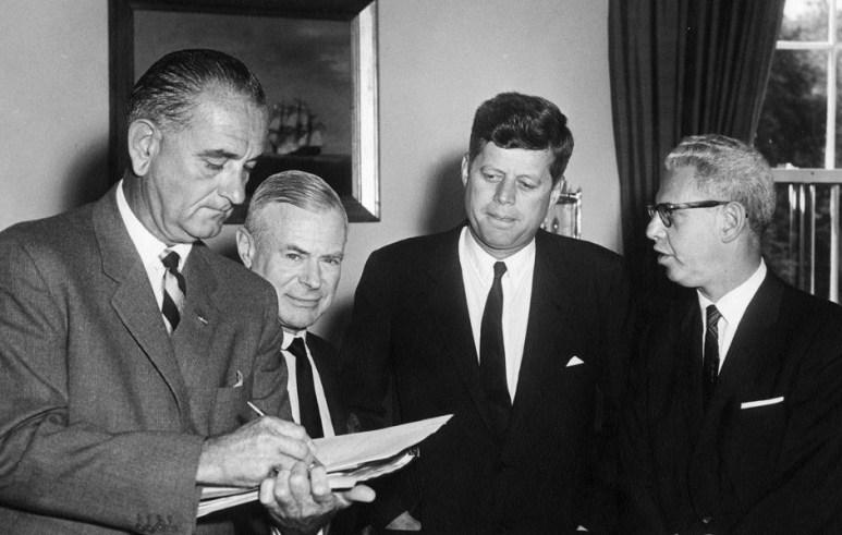Courtlandt Gross seen here with Arthur J. Goldberg, Lyndon Johnson and John F. Kennedy