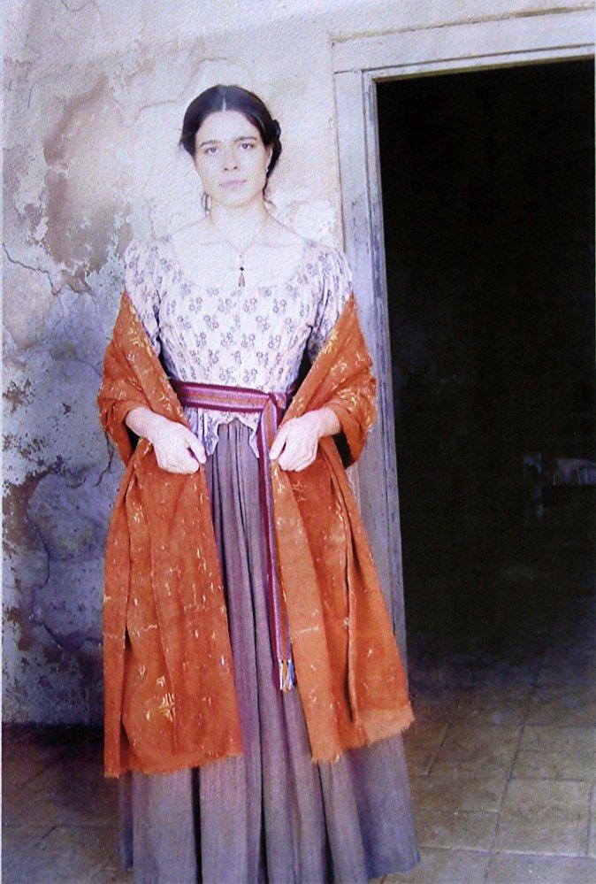 Estephania LeBaron on the set of the Alamo in 2004