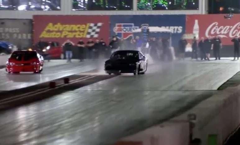 Alex Laughlin's car crossing into Ryan Martin's lane