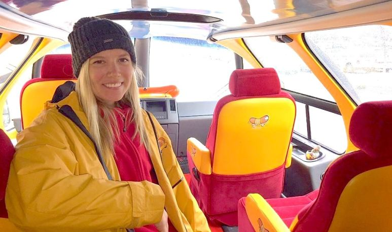Jena in the back of the Wienermobile