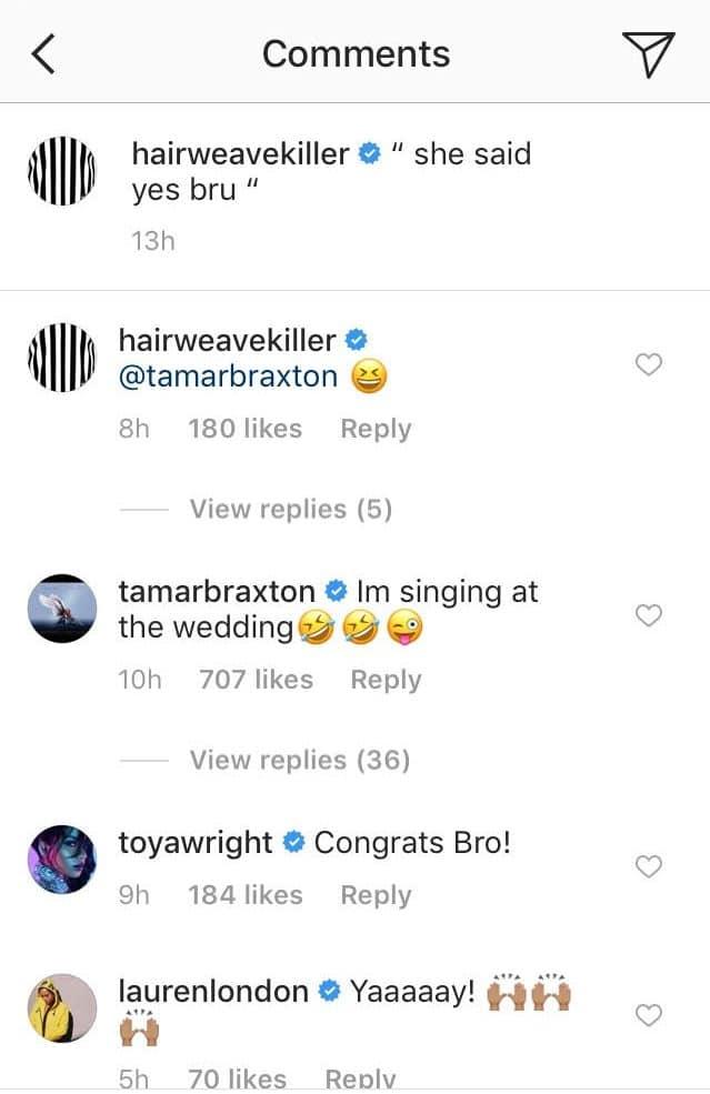 Instagram comment by Tamar Braxton