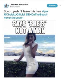 Cris took aim at Ex on the Beach's Chelsko on Twitter with a transphobic meme.