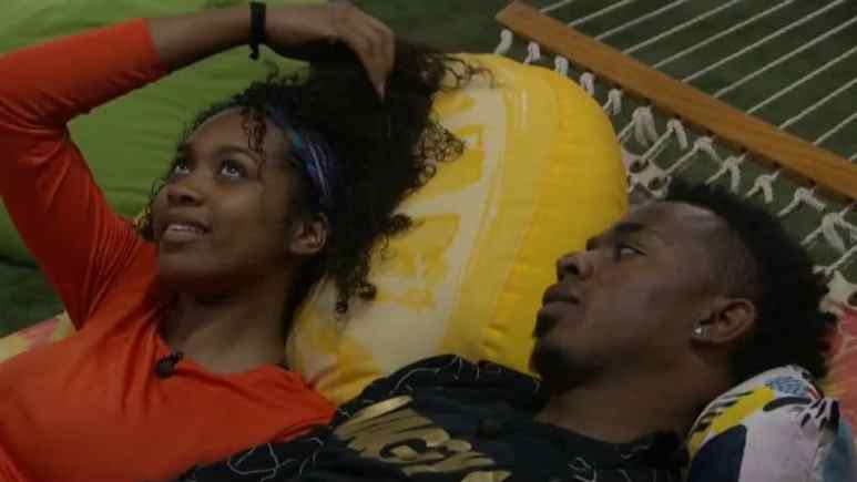 Bayleigh and Swaggy C in the hammock before his Big Brother eviction