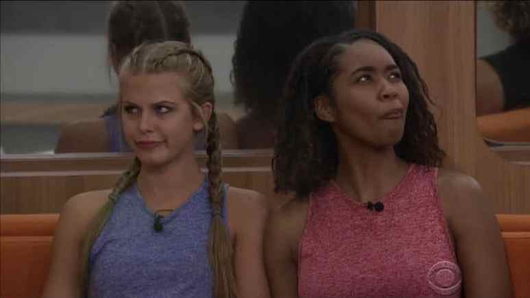 Haleigh and Bayleigh looking confused in the Big Brother house