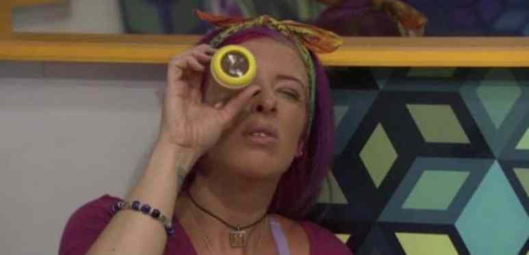 Angie 'Rockstar' Lantry looking into a kaleidoscope in the Big Brother 20 house