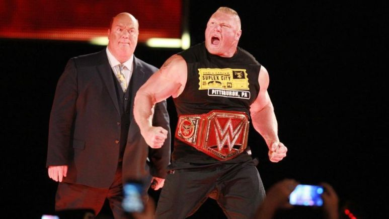 Brock Lesnar and Paul Heyman on Monday Night Raw / pic by WWE