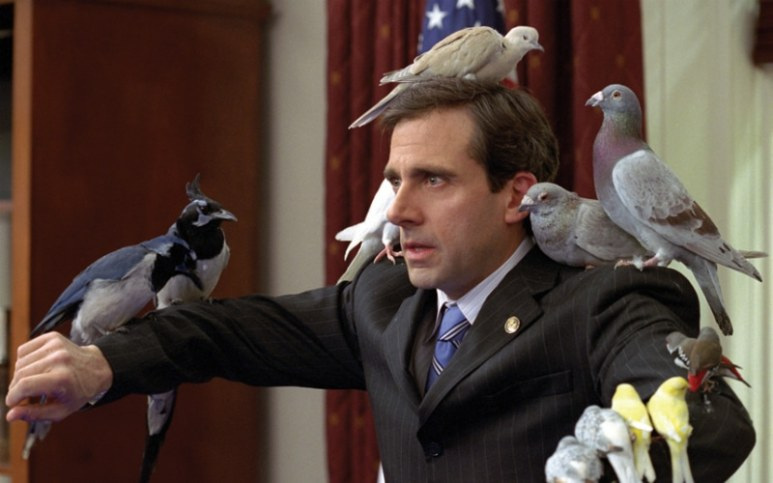 Steve Carell covered in birds as Evan Almighty
