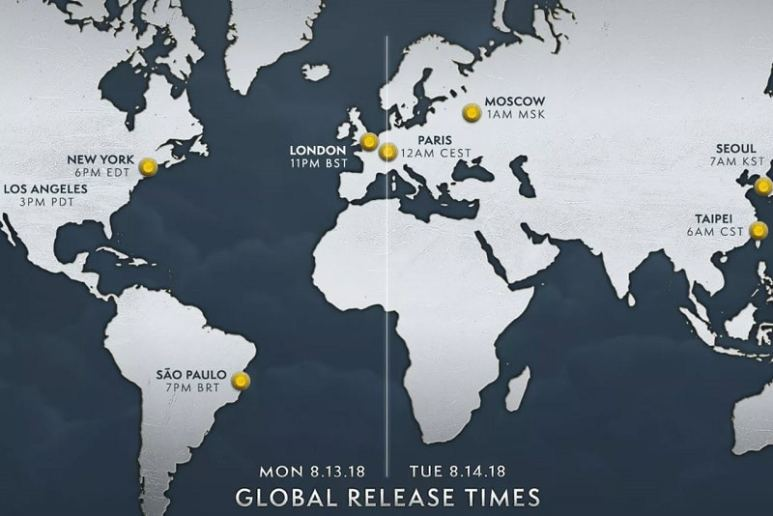 Map showing the release time and date for World Of Warcraft: Battle for Azeroth based on timezone and location