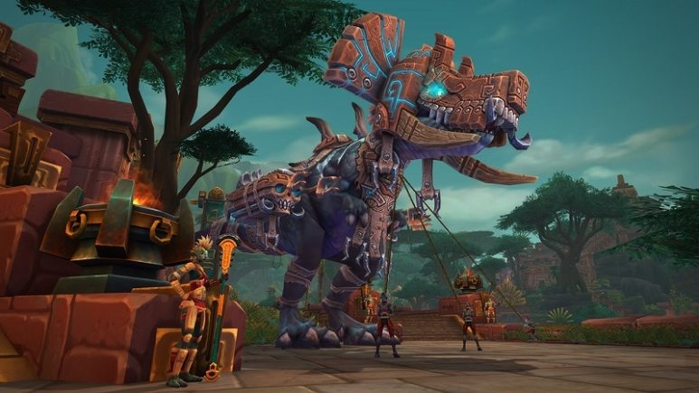 Zanadalari trainers attempt to control an enormous Devilsaur.
