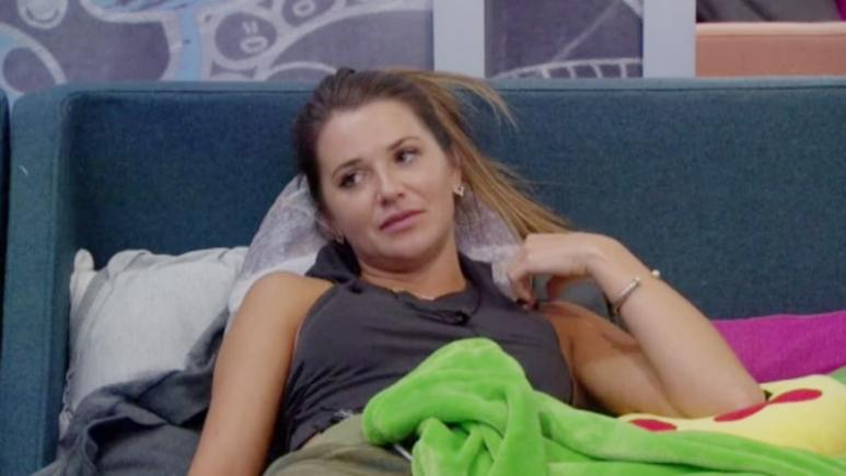 Angela laying in the bed in the blue room on Big Brother 20