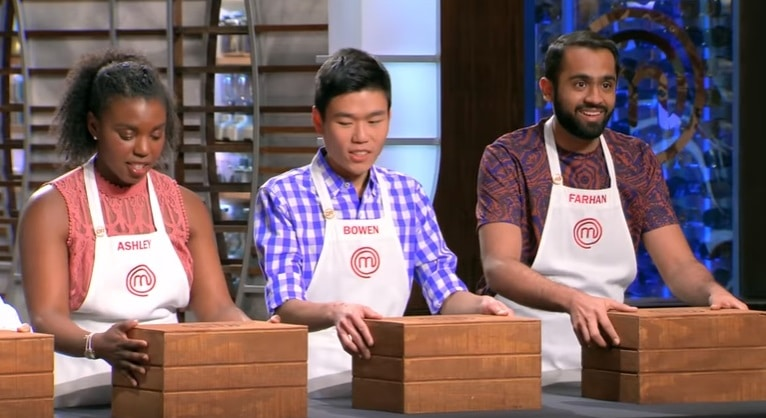 Ashley, Bowen, and Farhan during MasterChef Mystery Box Challenge