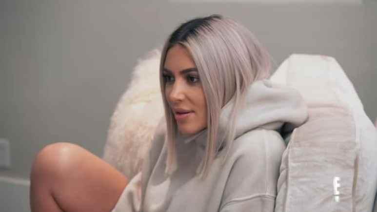 Kim Kardashian with platinum blonde hair on Season 15 of Keeping Up With The Kardashians