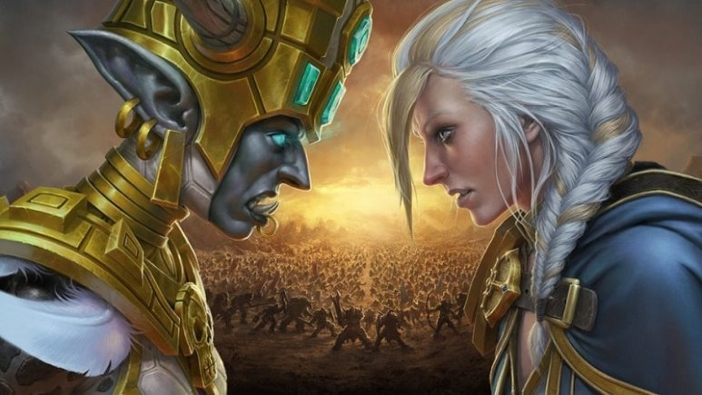 Princess Talanji and Jaina Proudmoore glare at each other across the bloody battlefield.