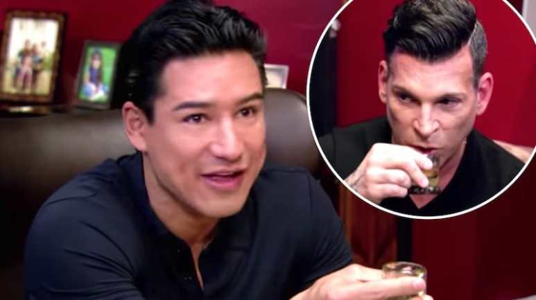Mario Lopez and David Tutera try tequila