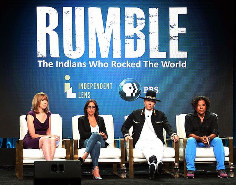 "Executive Producer Lois Vossen, producer Christina Fon, Jaime Luis Gomez ""Taboo"", and recording Steve Salas of the television show ""Rumble"" at the PBS Summer 2018 Television Critics Association Press Tour"