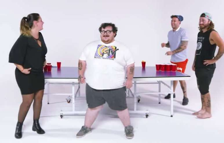 Zach Holmes and his friends play their version of beer pong on Too Stupid To Die