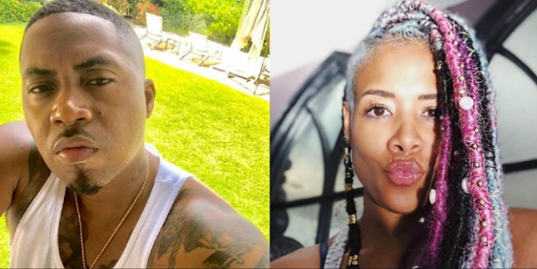 Nas on the left and Kelis on the right in selfies shared to Instagram
