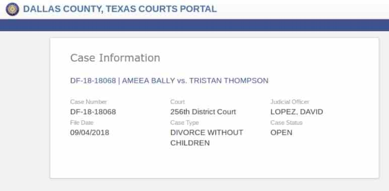 A screenshot of the public records information confirming that Mia Bally filed for divorce from Tristan Thompson in September