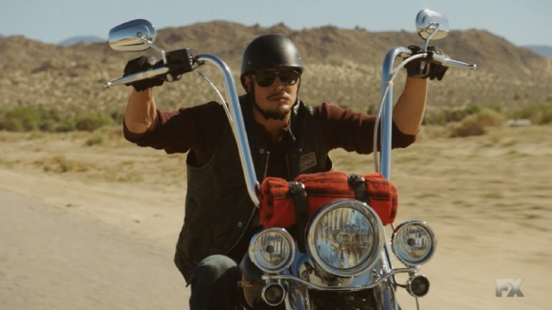 Still image from Mayans M.C. Escorpión/Dzec. EZ joins the club on the chase for Louie of the Dogwood Crew. Pic credit: FX