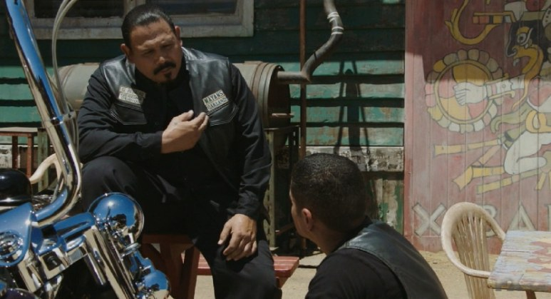 Still Image from Mayans M.C. Murciélago/Zotz. Alvarez explains to EZ Reyes, he should go to him or Bishop with problems concerning the club. Pic credit: FX