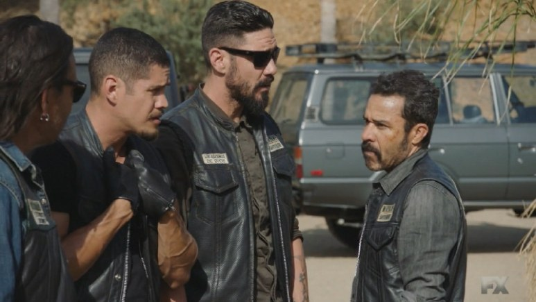 Still Image from Mayans M.C. Murciélago/Zotz. EZ reveals to Bishop that he went to Stockton State Prison with Cole. Pic credit: FX