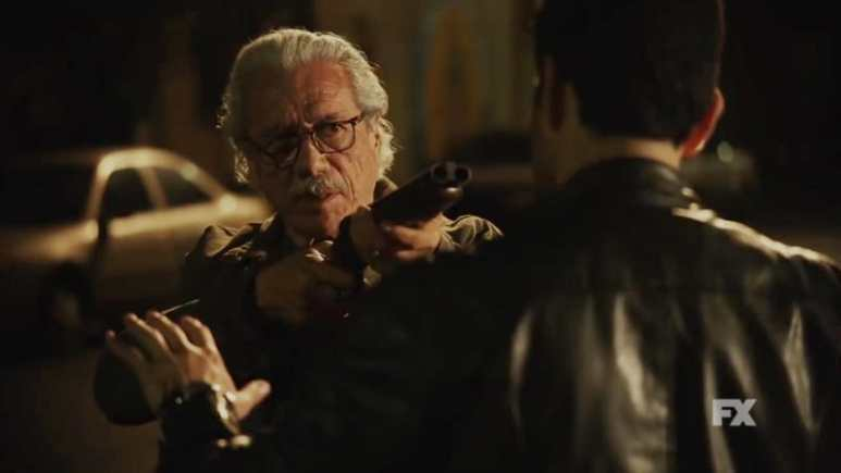 Still image from Mayans M.C. Búho/Muwan preview. Felipe threatens Kevin to stick to the deal. Pic credit: FX