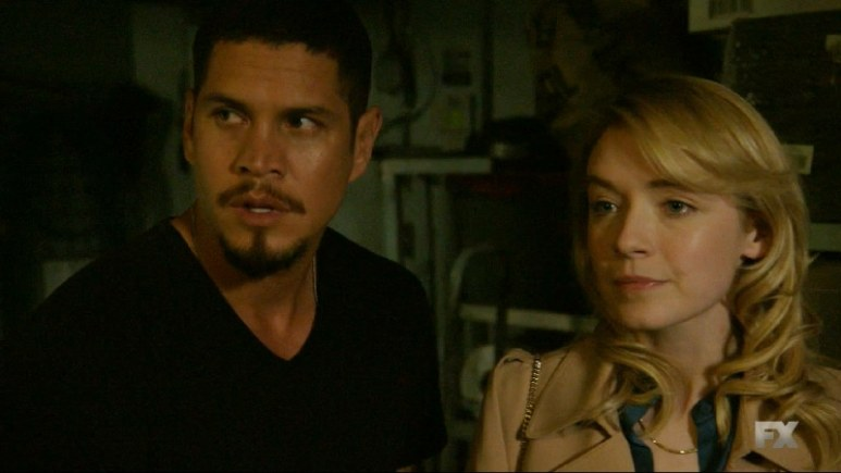 Still image from Mayans M.C. Escorpión/Dzec. Emily (Sarah Bolger) meets with EZ to get the truth in order to prepare herself for what may come next. Pic credit: FX