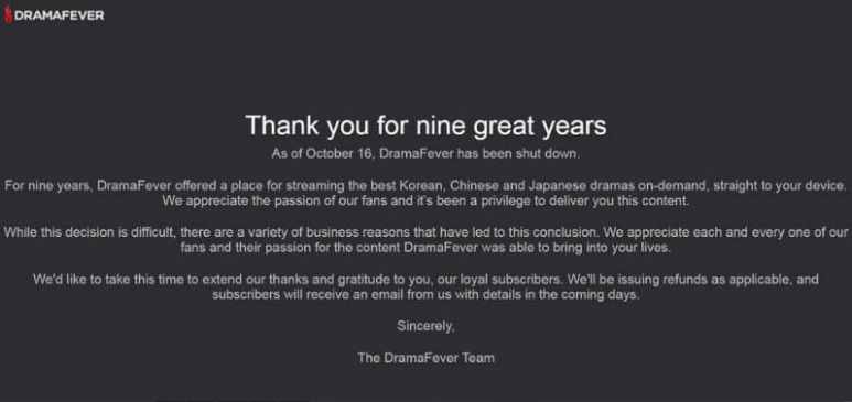 DramaFever left a thank you page on their website.