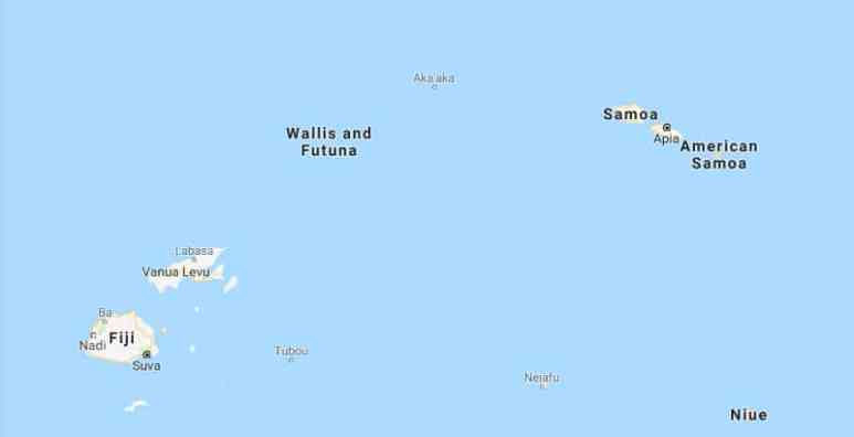The Samoan Islands are located in the South Pacific. Pic credit: Google