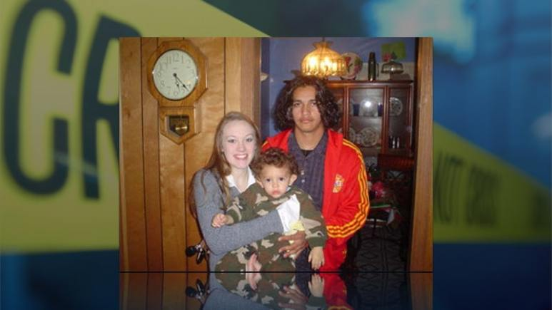 April Caldwell with her son and his father, Juan Carlos Ramirez