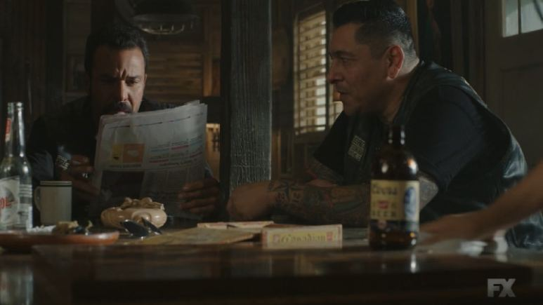 Still image from Mayans M.C. Gato/Mis. While Taza and Riz are in Vegas, Bishop and Hank continue to keep watch over Angel and Coco. Pic credit: FX