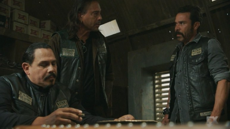 Still Image Mayans M.C. Uch/Opossum. Marcus Alvarez warns Bishop, Hank and Taza to keep Adelita's identity from the rest of the club while they investigate the rat. Pic Credit: FX