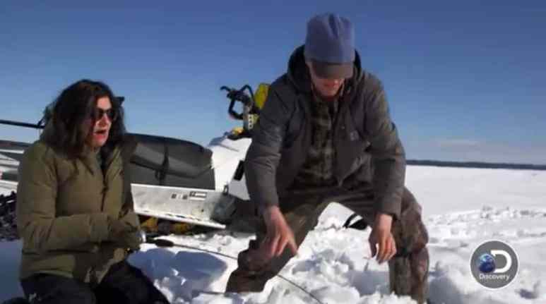 Jane's patient fishing yields a huge burbot fish for dinner. Pic credit: Discovery