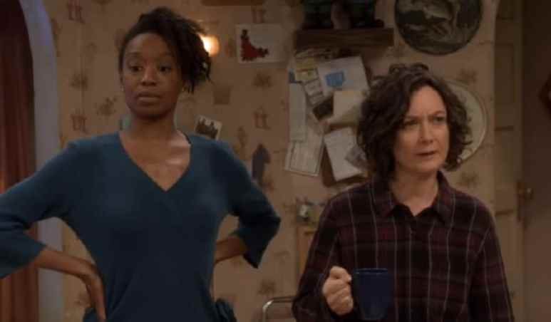 Geena and Darlene during an episode of The Conners