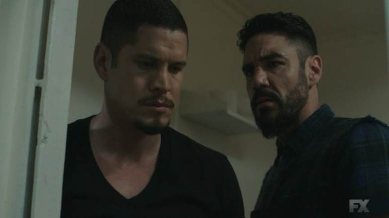Still Image from Mayans M.C. Serpiente/Chikchan. Lincoln Potter exposes EZ Reyes' deal to his brother Angel before releasing the boys on one condition. Pic Credit: FX